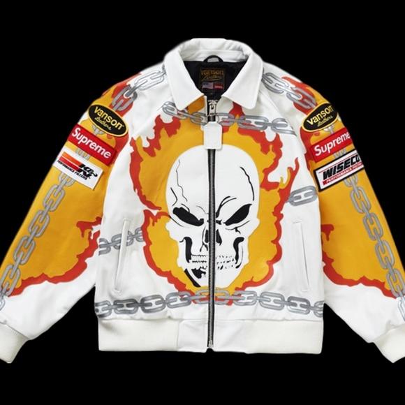 cc9fa46c1 Supreme Vanson Leathers Ghost Rider Jacket White L NWT